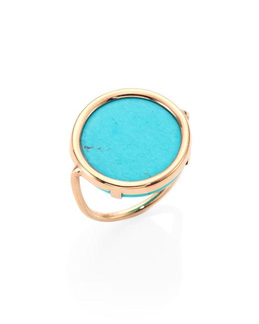 Ginette NY | Blue Fallen Sky Turquoise & 18k Rose Gold Disc Ring | Lyst
