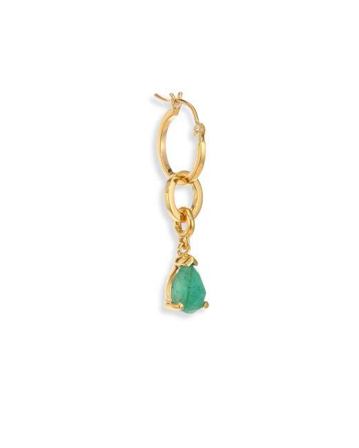 Paige Novick | Metallic Modular Single Mini 18k Yellow Gold Hoop Earring & Interchangeable Emerald Charm | Lyst
