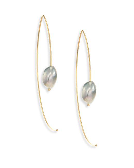 Mizuki | Metallic 7mm Light Grey Baroque Tahitian Pearl & 14k Yellow Gold Large Open Marquis Earrings | Lyst