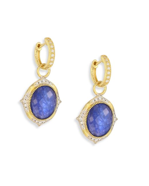 Jude Frances | Multicolor Small Moroccan Diamond & Sapphire Rainbow Moonstone Doublet Earring Charms | Lyst
