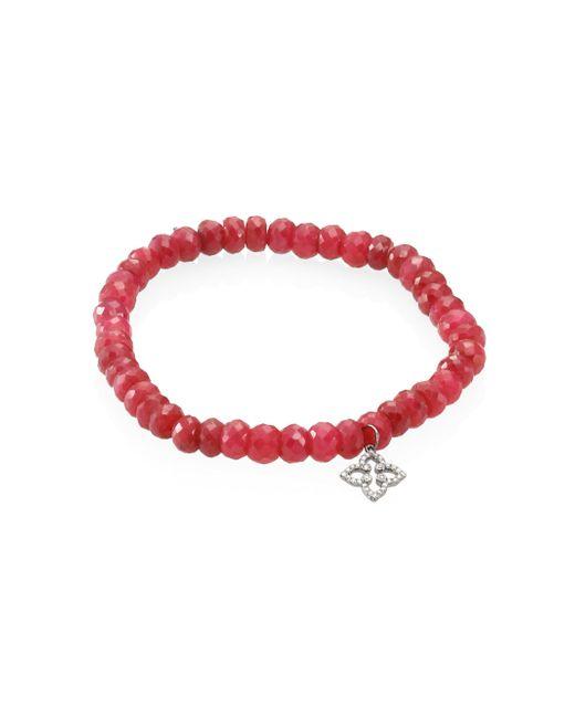 Sydney Evan   Red Mini Morrocan Flower Diamond & Ruby Beaded Bracelet   Lyst