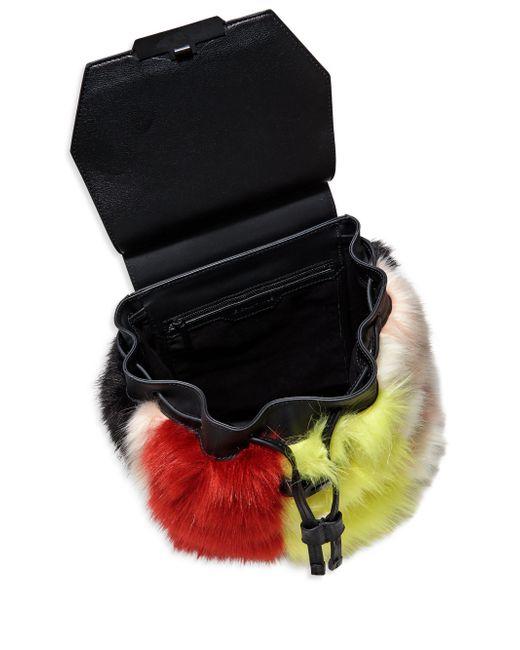 Kendall Kylie Nancy Multi Colored Faux Fur Backpack In