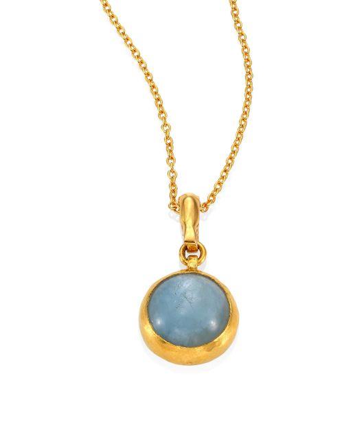 Gurhan | Metallic Amulet Hue Aquamarine & 18-24k Yellow Gold Pendant Necklace | Lyst