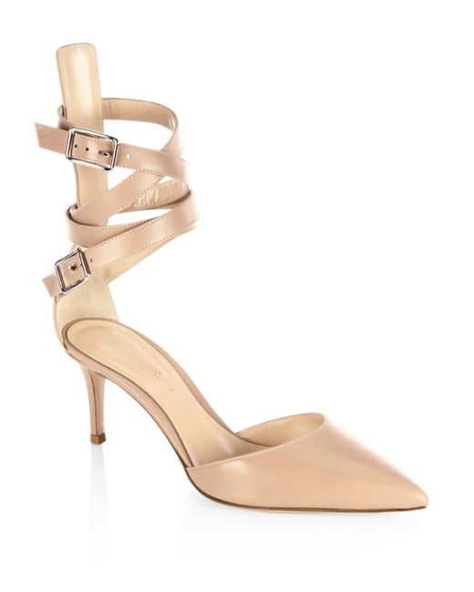 Gianvito Rossi | Natural Leather D'orsay Ankle-strap Pumps | Lyst