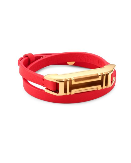 Tory Burch | Red X Fitbit Double-wrap Leather Bracelet | Lyst