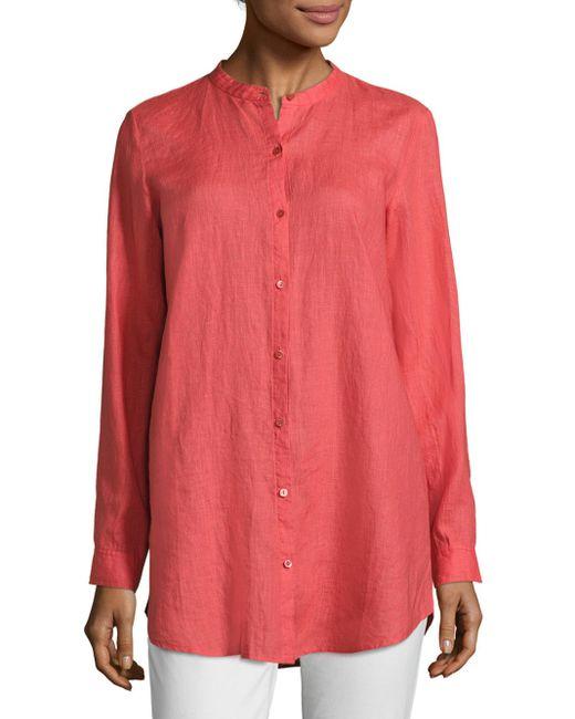Eileen Fisher   Pink Linen Mandarin Collar Shirt   Lyst