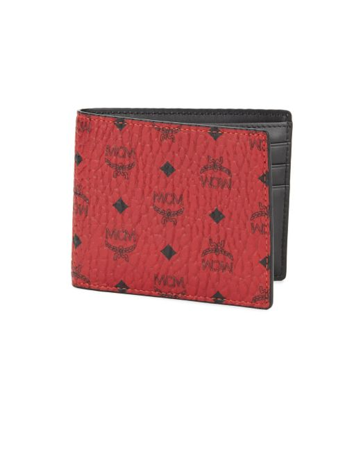 mcm claus small coated canvas wallet in red for men