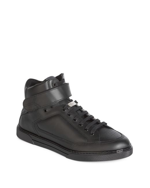 Saint Laurent | Black Hi-top Leather Sneakers for Men | Lyst