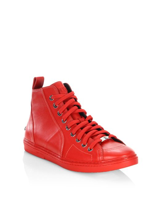 Jimmy Choo   Red Star Studs Leather High-top Sneakers for Men   Lyst