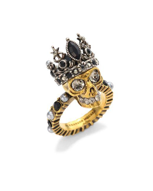 Alexander McQueen | Metallic Queen Skull Crystal Ring | Lyst