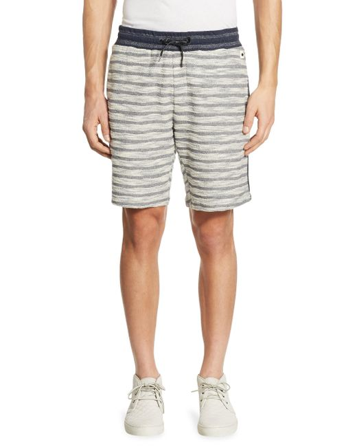 Madison Supply | Blue Striped Knit Cotton Shorts for Men | Lyst