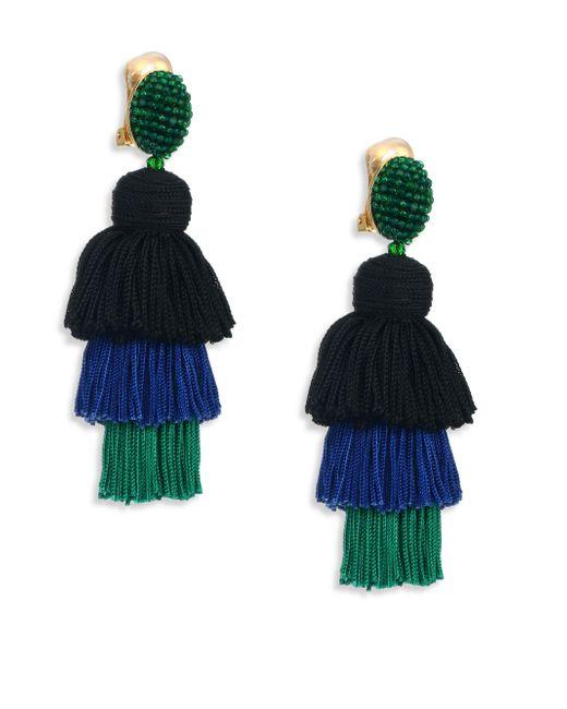 Oscar de la Renta   Multicolor Long Silk Tiered Tassel Earrings   Lyst