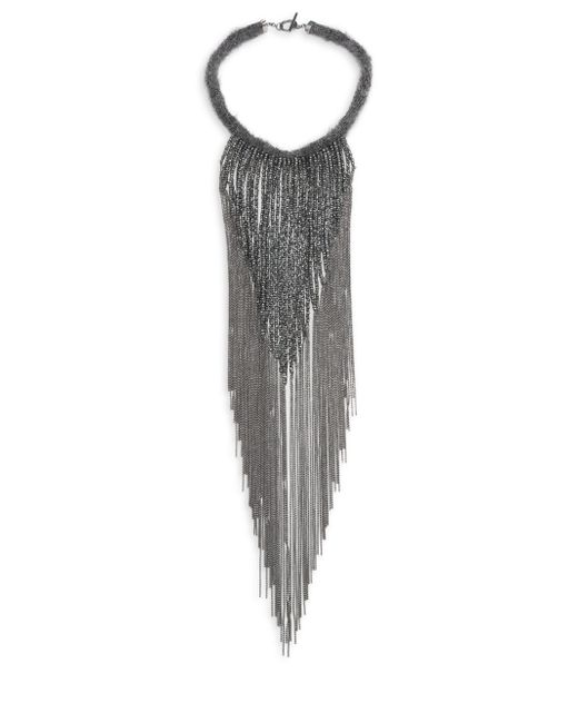 Brunello Cucinelli | Metallic Mohair Waterfall Necklace | Lyst