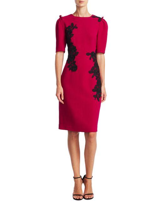 Teri Jon   Red Elbow-length Puffed Sleeve Dress   Lyst