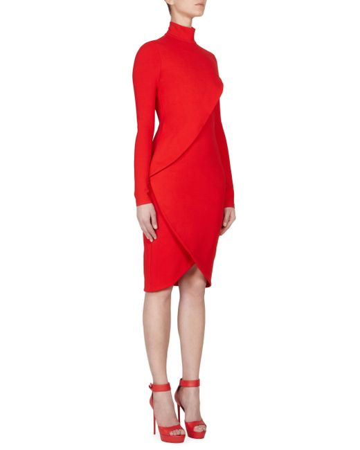Givenchy   Red Jersey Turtleneck Dress   Lyst
