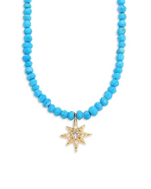 Anzie | Blue Aztec Starburst Diamond, Topaz & Turquoise Beaded Necklace | Lyst