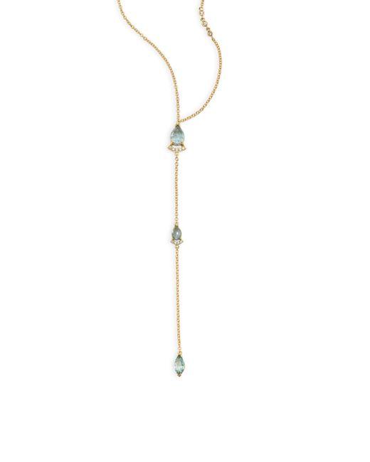 Paige Novick   Metallic Powerful Pretty Things Diamond & Aquamarine Lariat Necklace   Lyst