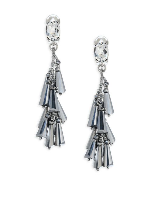 Oscar de la Renta | Metallic Multi-cone Crystal Clip-on Earrings | Lyst