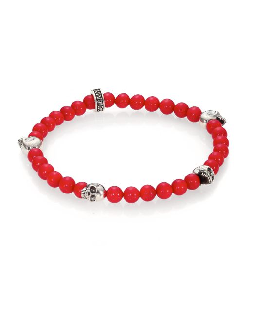 King Baby Studio | Red Coral Beaded Bracelet for Men | Lyst