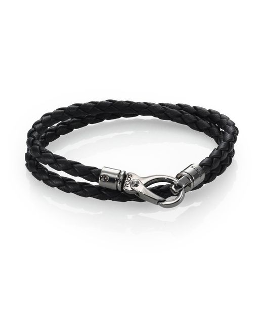 Tod's | Black Leather Double-wrap Bracelet for Men | Lyst