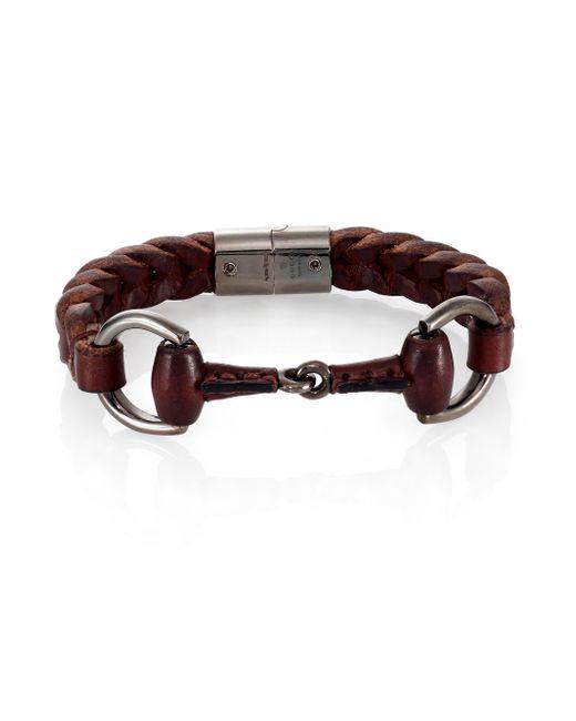 Gucci | Black Braided Leather & Sterling Silver Horse Bit Bracelet for Men | Lyst