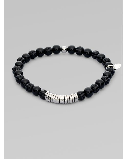 Tateossian | Black Silver Discs Bracelet for Men | Lyst