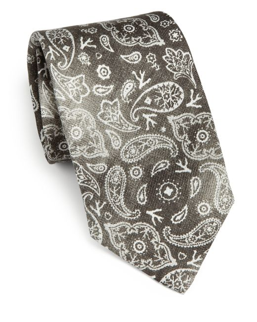 Isaia | Gray Faded Paisley Linen & Silk Tie for Men | Lyst