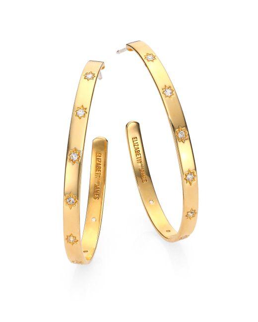 Elizabeth and James | Metallic Bassa White Topaz Hoop Earrings/1.7 | Lyst