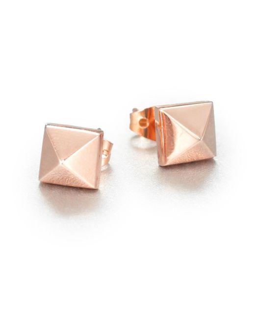 Eddie Borgo | Pink Pyramid Stud Earrings/rose Goldtone | Lyst