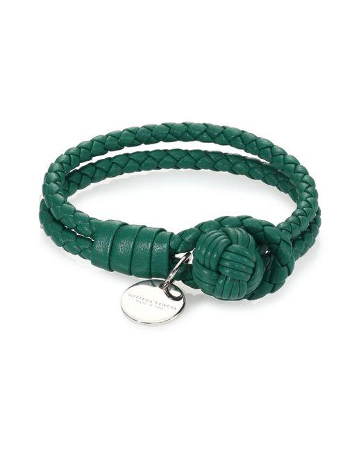 Bottega Veneta   Green Intrecciato Leather Double-row Wrap Bracelet   Lyst