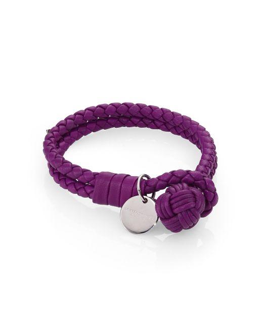 Bottega Veneta | Purple Intrecciato Leather Double-row Wrap Bracelet | Lyst