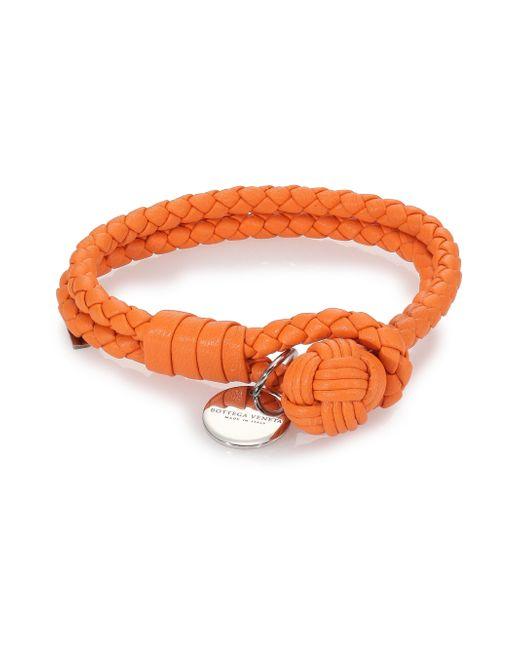 Bottega Veneta | Orange Intrecciato Leather Double-row Wrap Bracelet | Lyst