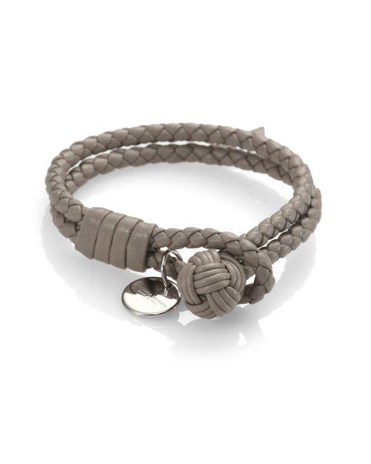 Bottega Veneta | Brown Intrecciato Leather Double-row Wrap Bracelet | Lyst