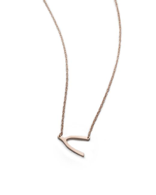 Jennifer Zeuner | Pink Wishbone Pendant Necklace | Lyst