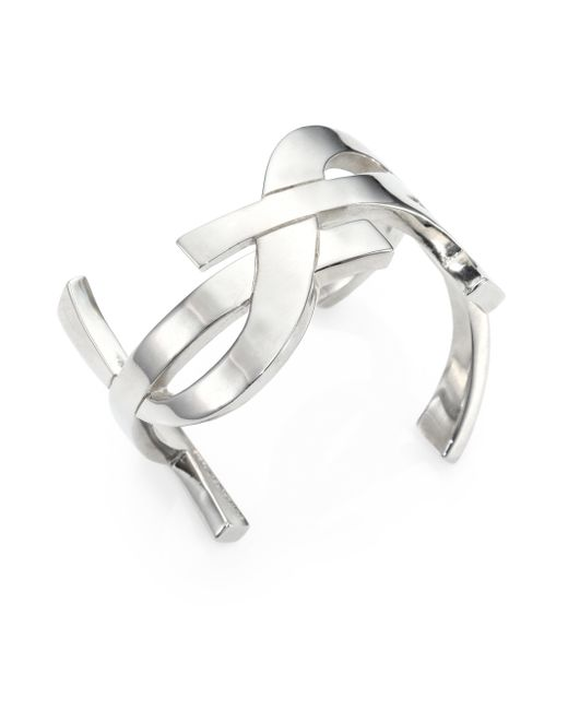 Saint Laurent | Metallic Monogram Manchette Signature Cuff Bracelet/silvertone | Lyst