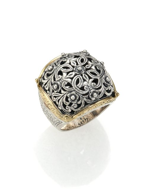 Konstantino | Metallic Classics 18k Yellow Gold & Sterling Silver Floral Filigree Ring | Lyst