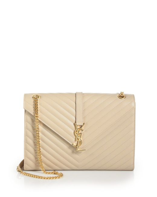 Saint Laurent | Natural Large Monogram Matelasse Leather Chain Shoulder Bag | Lyst
