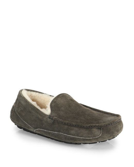 Ugg | Gray Ascot Suede And Shearling Slippers | Lyst