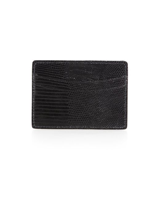 Saks Fifth Avenue | Black Lizard Card Case for Men | Lyst