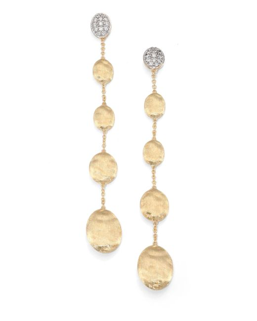 Marco Bicego | Metallic Siviglia Diamond & 18k Yellow Gold Linear Drop Earrings | Lyst