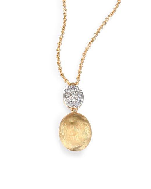 Marco Bicego | Metallic Siviglia Diamond & 18k Yellow Gold Drop Pendant Necklace | Lyst