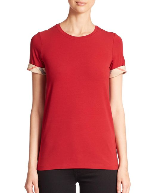 Burberry | Red Check-cuffed Tee | Lyst