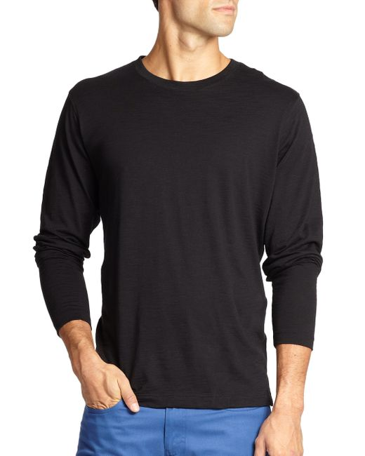 Saks Fifth Avenue | Black Long-sleeved Cotton Tee for Men | Lyst
