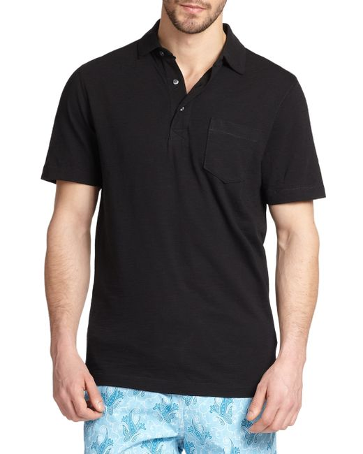 Saks Fifth Avenue | Black Slub Polo for Men | Lyst