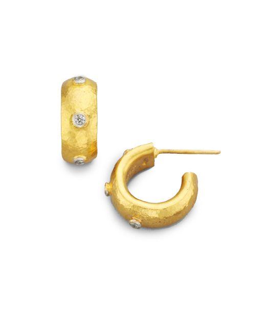 Gurhan | Metallic Celestial Diamond & 24k Yellow Gold Constellation Huggie Hoop Earrings/0.5 | Lyst
