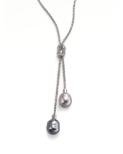 Majorica | White 14mm Grey And Nuage Baroque Pearl & Sterling Silver Lariat Necklace | Lyst