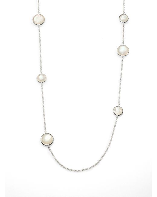 Ippolita | Metallic Wonderland Mother-of-pearl, Clear Quartz & Sterling Silver Lollipop Doublet Station Necklace | Lyst