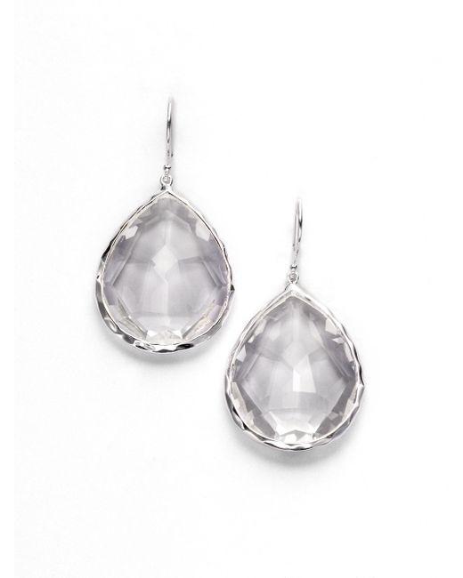 Ippolita   Metallic Rock Candy Clear Quartz & Sterling Silver Large Teardrop Earrings   Lyst