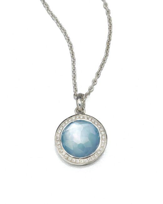 Ippolita | Metallic Stella Swiss Blue Topaz, Mother-of-pearl, Diamond & Sterling Silver Lollipop Doublet Pendant Nec | Lyst