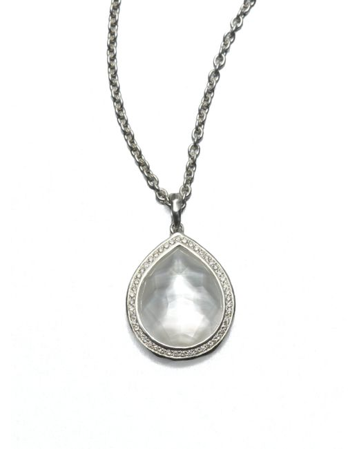 Ippolita | Metallic Stella Mother-of-pearl, Clear Quartz, Diamond & Sterling Silver Teardrop Doublet Pendant Necklac | Lyst